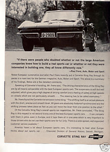 1964 CHEVY CORVETTE VINTAGE CAR AD