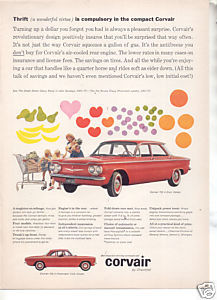 * 1960 CHEVY CORVAIR VINTAGE CAR AD