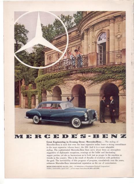 * 1960 MERCEDES BENZ VINTAGE CAR AD