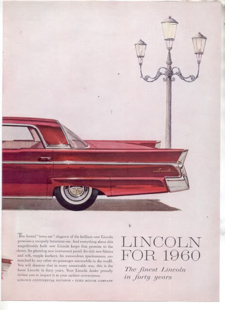 * 1960 LINCOLN CONTINENTAL VINTAGE CAR AD 2-PAGE