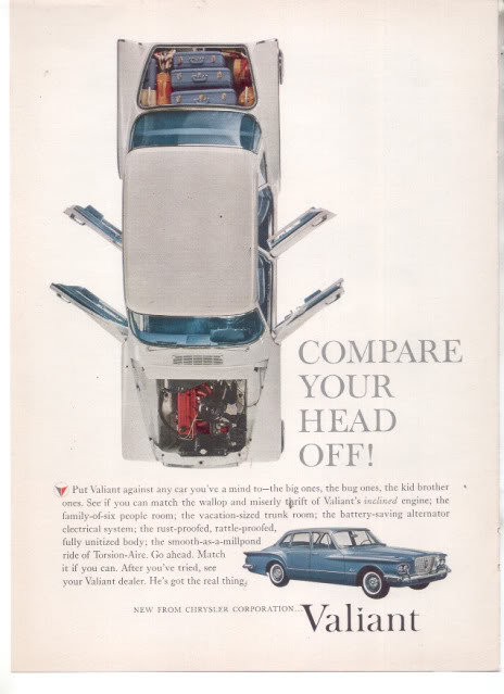 * 1960 CHRYSLER VALIANT VINTAGE CAR AD