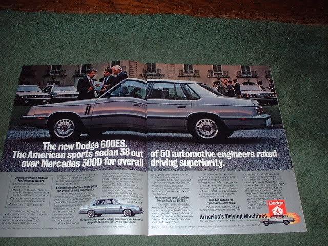 1983 DODGE 600ES 600 ES CAR AD 2-PAGE