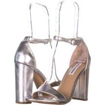 Steve Madden Carrson Ankle Strap Dress Sandals 831, Silver, 8.5 US - $32.63
