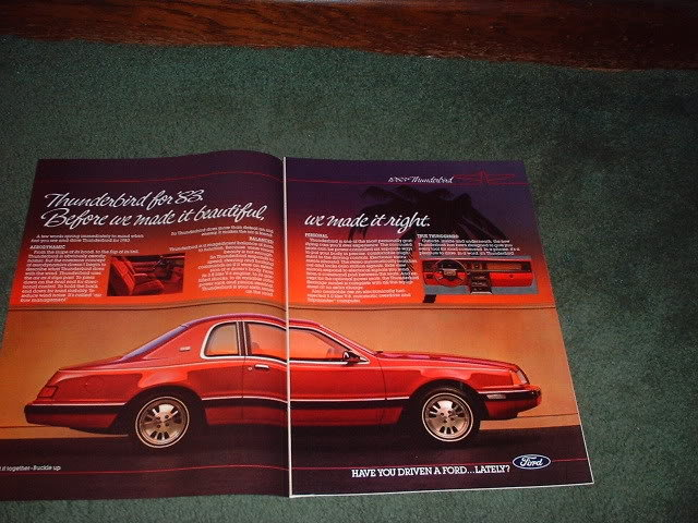 1983 FORD THUNDERBIRD CAR AD 2-PAGE