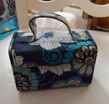 Vera Bradley Mod Floral Blue Mini Jewelry Box Hard Case Travel - $18.00