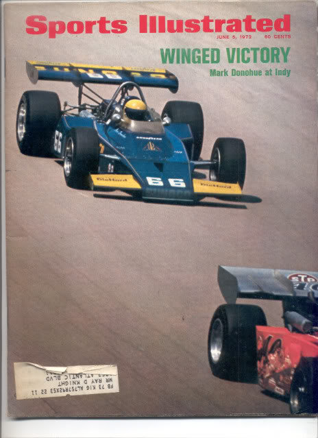 * 1972 SPORTS ILLUSTRATED INDY MARK DONOHUE