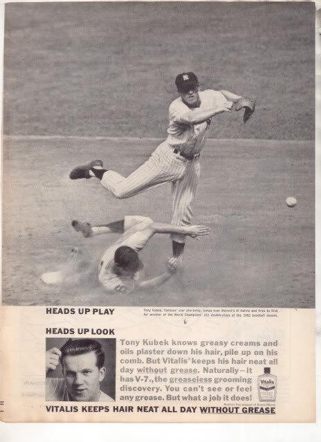 * 1963 VITALIS HAIR TONIC TONY KUBEK PHOTO AD