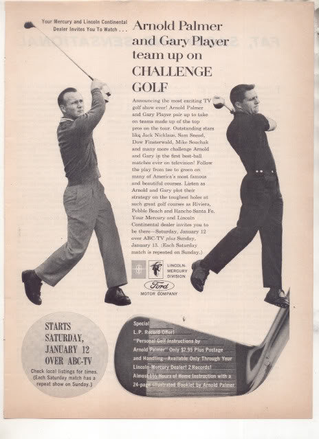 * 1963 ARNOLD PALMER GARY PLAYER GOLF CHALLENGE AD