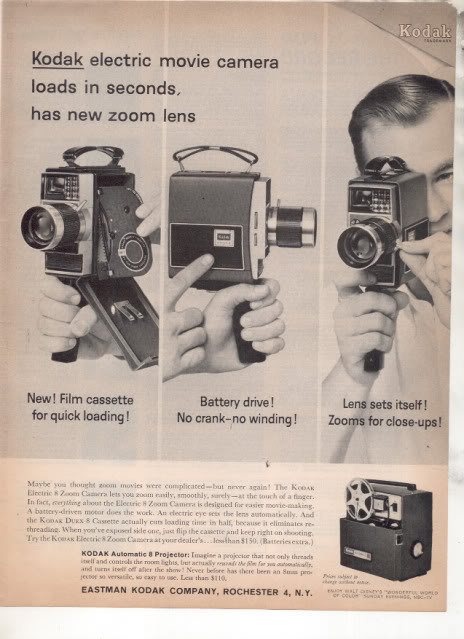 * 1963 KODAK ELECTRIC MOVIE CAMERA PHOTO AD