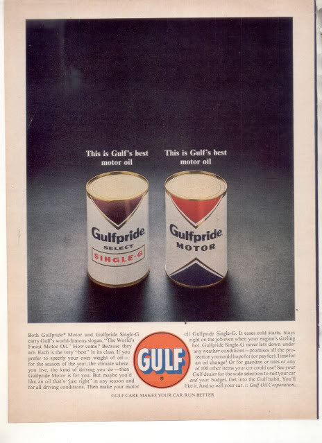 * 1963 GULF GULF PRIDE MOTOR OIL PHOTO AD