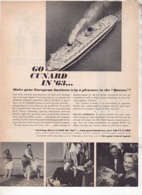 * 1963 CUNARD CRUISE LINE QUEEN MARY QUEEN ELIZABETH AD