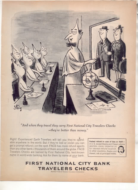* 1963 FIRST NATIONAL CITY BANK TRAVELERS CHECKS AD