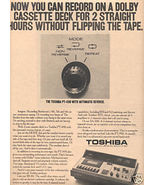 1973 TOSHIBA PT-490 CASSETTE DECK RECORDER AD - $8.99