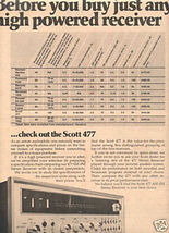 1973 SCOTT 477 STEREO RECEIVER AD - $8.99