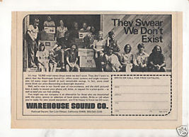 1973 VINTAGE WAREHOUSE SOUND COMPANY AD - $7.64