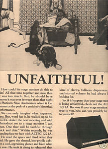 1975 ALTEC 1221A STAGE MONITOR AD UNFAITHFUL
