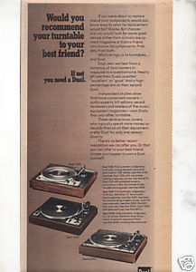 1975 DUAL 1225 1249 CS701 TURNTABLE AD