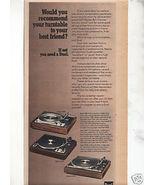 1975 DUAL 1225 1249 CS701 TURNTABLE AD - $9.99