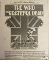 GRATEFUL DEAD THE WHO CONCERT FLYER PROMO AD RARE 1976