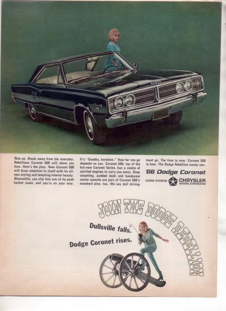 1966 DODGE CORONET VINTAGE CAR AD DULLSVILLE FALLS