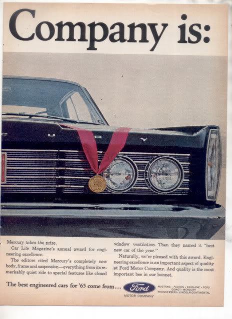 1965 MERCURY VINTAGE CAR AD 2-PAGE