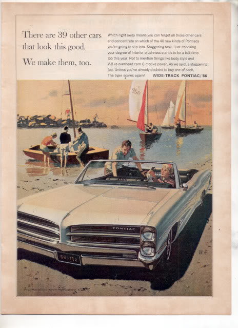 1966 PONTIAC BONNEVILLE WIDE TRACK VINTAGE CAR AD