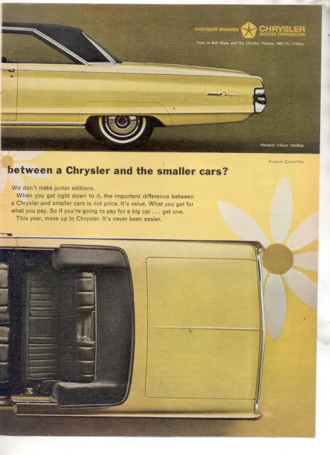 1965 1966 CHRYSLER NEWPORT VINTAGE CAR AD 2-PAGE