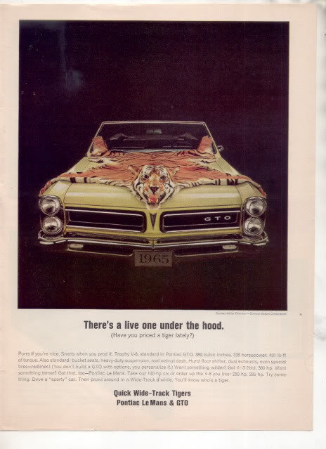 1965  PONTIAC GTO VINTAGE CAR AD