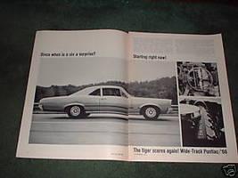 1966 PONTIAC GTO 2+2 TEMPEST VINTAGE CAR AD 4-PAGE - $8.49