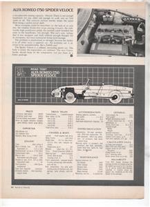 1971  ALFA ROMEO 1750 SPIDER VELOCE ROAD TEST AD