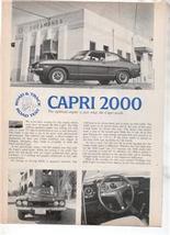 1971  CAPRI 2000 VINTAGE ROAD TEST AD 2-PAGE - $7.99