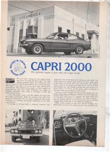 1971  CAPRI 2000 VINTAGE ROAD TEST AD 2-PAGE