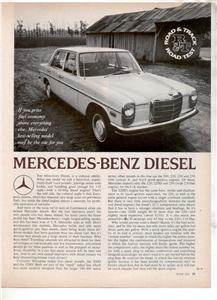 1971 1972 MERCEDES BENZ DIESEL ROAD TEST AD 4-PAGE