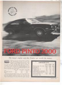 1971 1972 FORD PINTO 2000 VINTAGE ROAD TEST AD