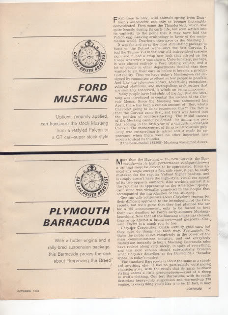 1964 1965 FORD MUSTANG PLYMOUTH BARRACUDA ROAD TEST AD