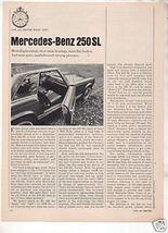 1967  MERCEDES BENZ 250 SL ROAD TEST AD 6-PG - $8.99