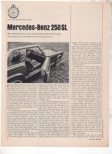 1967  MERCEDES BENZ 250 SL ROAD TEST AD 6-PG