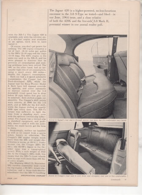 1967  MERCURY COUGAR XR7 XR-7 JAGUAR 420 ROAD TEST