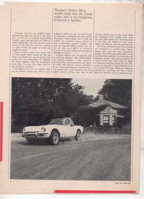 1967  TRIUMPH SPITFIRE MK III ROAD TEST AD 5-PG