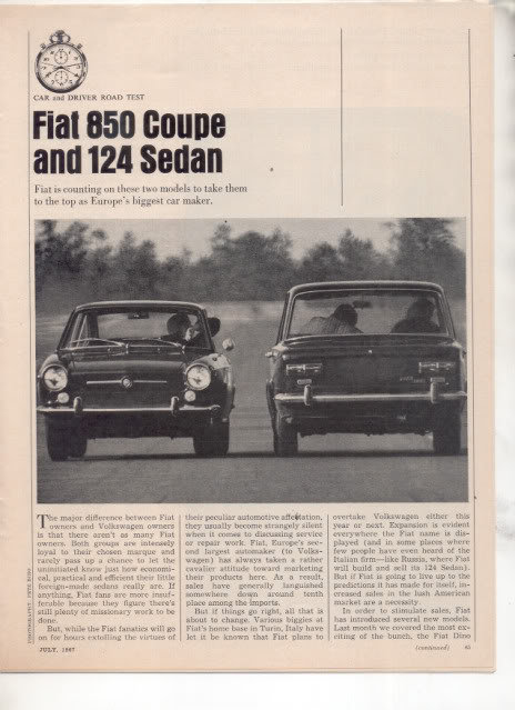 1967 1968 FIAT 850 COUPE AND 124 SEDAN ROAD TEST AD