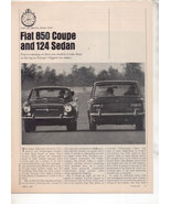 1967 1968 FIAT 850 COUPE AND 124 SEDAN ROAD TEST AD - $8.99