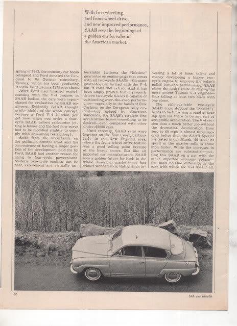 1967 1968 SAAB V4 V-4 VINTAGE ROAD TEST AD 5-PAGE
