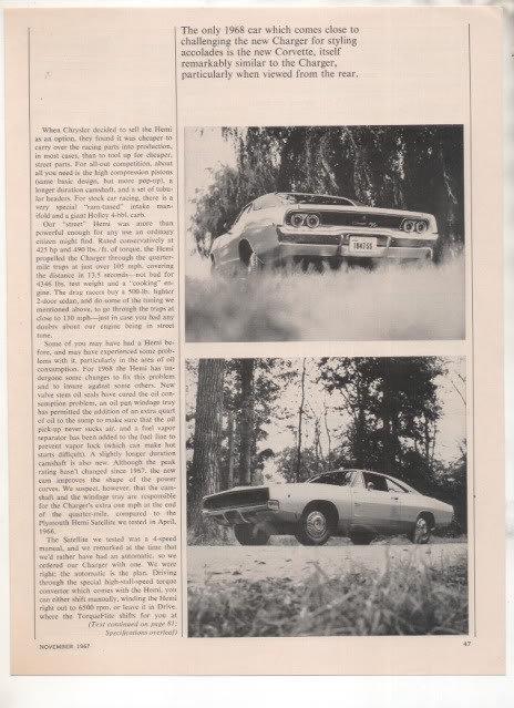 1967 1968 DODGE CHARGER VINTAGE ROAD TEST AD 5-PAGE