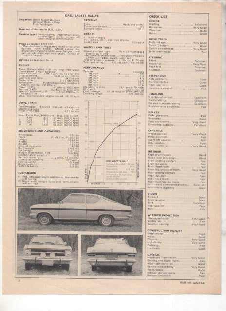 1967 1968 OPEL KADETT RALLYE ROAD TEST AD 4-PAGE