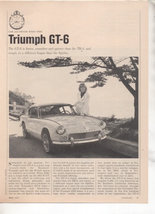 1967 1968 TRIUMPH GT6 GT-6 ROAD TEST AD 6-PAGE - $9.99