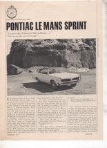 1967  PONTIAC LE MANS LEMANS SPRINT ROAD TEST AD - $9.99