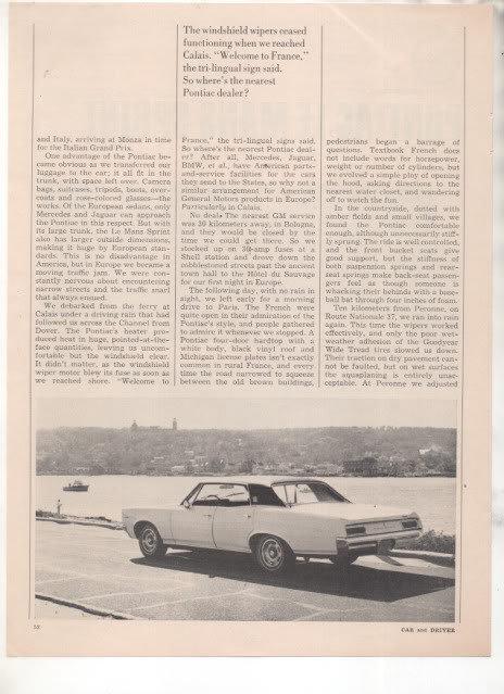 1967  PONTIAC LE MANS LEMANS SPRINT ROAD TEST AD