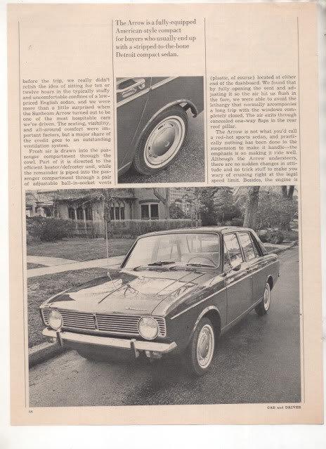 1967 1968 SUNBEAM ARROW VINTAGE ROAD TEST AD 4-PAGE