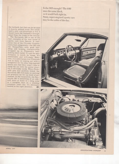 1967 1968 PLYMOUTH BARRACUDA 383 ROAD TEST AD 4-PAGE