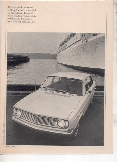 1967 1968 VOLVO 144S 144 S ROAD TEST AD 7-PAGE